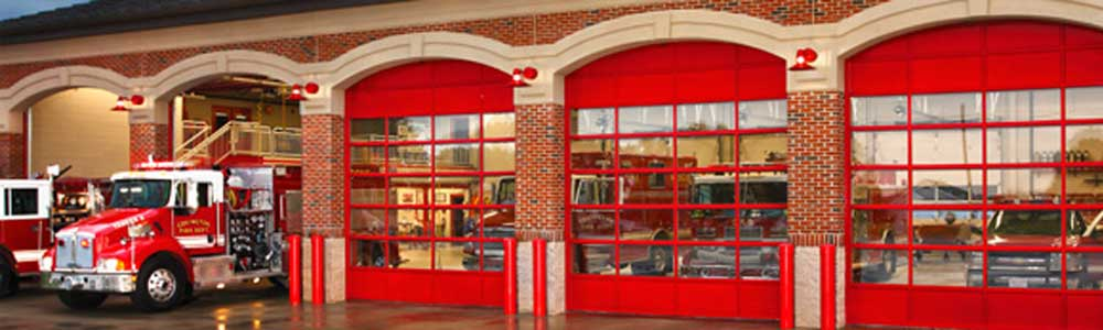 Sectional overhead doors for fire house